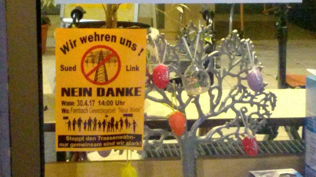 Aufruf zum Protest gegen SuedLink