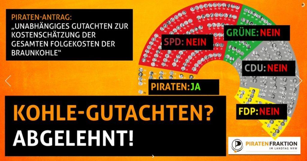 """Antrag der Piratenfraktion im Landtag von Nordrhein-Westfalen""""Unabhängiges Gutachten zur Kostenschätzung der gesamten Folgeksoten der Braunkohle"""""""
