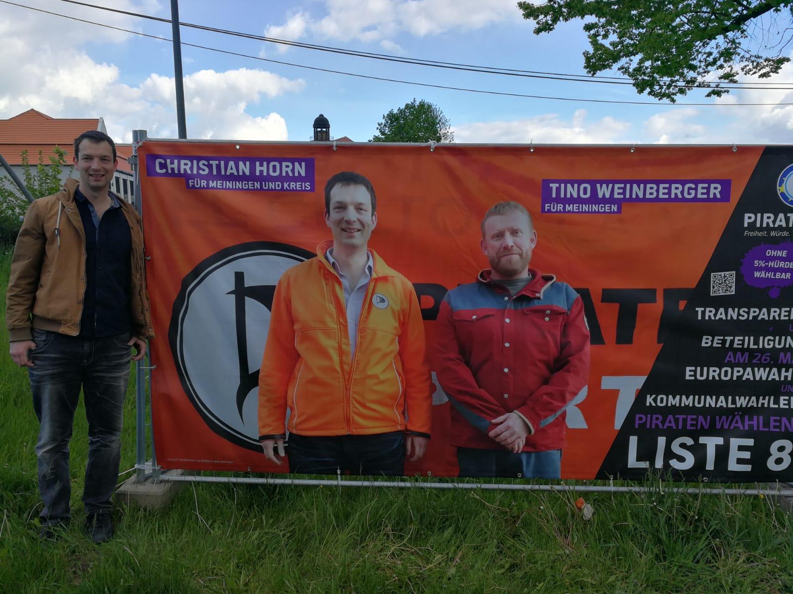 Christian Horn und Tino Weinberger auf dem Banner zur Kommunalwahl